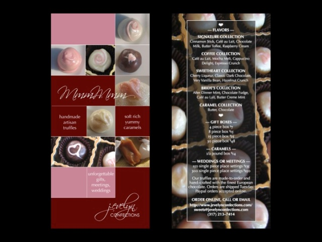 J. Evelyn Confections Menu Brochure